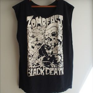 Zombeast Black Death sleeveless tee